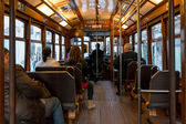 Interior of an old Lisbon tram, Portugal — Stock Photo