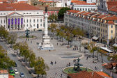 Birds-eye view of Rossio, main square of Lisbon, Portugal — Stock Photo