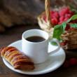Stock Photo: Strudel with raspberry and coffee