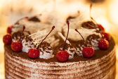 Cake with cherries — Stock Photo