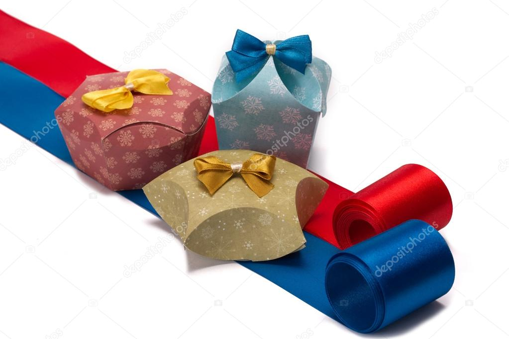 Gifts to Christmas. Boxes on a white background. — Stock Photo #15458331