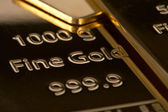 Ingot of bank gold. — Stock Photo