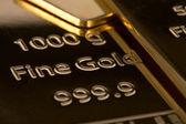 Ingot of bank gold. — Stock Photo