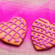 Stock Photo: Two heart-shaped gingerbread cookies
