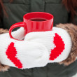 Hands in mittens with hearts holding cup — Stock Photo #37032049