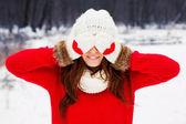 Pretty yong woman in red sweater — Foto de Stock