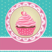 Card with cupcake — Stock Vector
