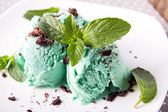Mint ice cream close-up — Stockfoto