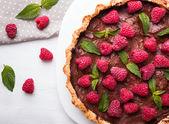 Chocolate tart with raspberry — Stock Photo