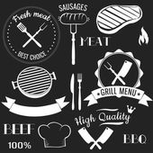 Set of grill menu elements — Stok Vektör