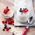 Two jars of fresh yogurt — Stock Photo