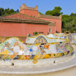 Snake mosaic bench in the park Guell — Stock Photo