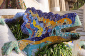 Fountain mosaic salamander — Stock Photo