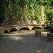 Bench stone. Barcelona landmark, Spain. — Stock Photo