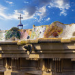 Mosaic bench in the park Guell. Barcelona landmark, Spain. — Stock Photo