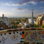 Gaudi Parc Guell. Barcelona landmark, Spain. — Stock Photo