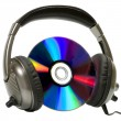 Headphones on music disk — Stock Photo