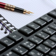 Stock Photo: Keyboard,note pad
