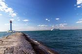 Vorontsovsky lighthouse seascape cruise ship Aida Aura — Stock Photo