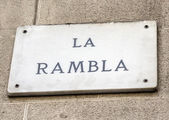 Barcelona landmark - La Rambla street sign — Stock Photo