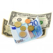 Stock Photo: Money euro coins and banknotes