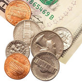 Coins and notes. — Stock Photo