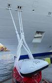 Vessel, knight on the berth of port. — Stock Photo