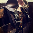 Vintage leather saddle horse — Stock Photo