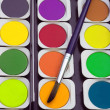 Paints and paintbrush — Stock Photo #32493209