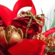 Decoration red wrapped gift — Stock fotografie