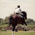 Rider on horse, vintage retro style — Stock Photo #35692879