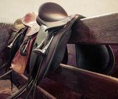 Leather saddle horse, vintage retro style — Stock Photo