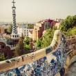 Mosaic bench in Barcelona. Catalonia, Spain — Stock Photo