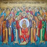 Mosaic icon in Odessa Orthodox Christian monastery — Stock Photo