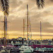 Sailboat in Port Vell in Barcelona. Catalonia — Stock Photo