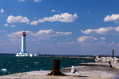 Lighthouse in Odessa harbor — Stock Photo