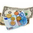 Dollar, euro , coins money — Stock Photo