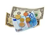 Dollar, euro , coins money — Stock Photo