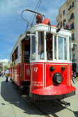 Red vintage tram in Istanbul — Stock Photo