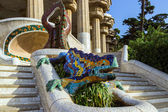 Ceramic dragon fountain at Parc Guell — Stock Photo