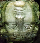 Medusa head shown in the Basilica Cistern in Istanbul, Turkey. — Stock Photo