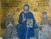 Byzantine mosaic in the interior of Hagia Sophia in Istanbul, Tu — Stock Photo