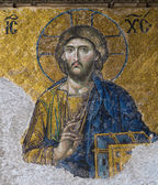 Mosaic in the interior of Hagia Sophia in Istanbul, Tu — Stock Photo