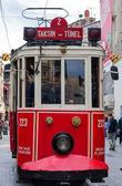 Red vintage tram in Istanbul — Foto Stock