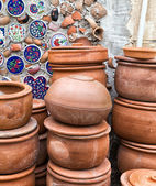 Handmade old clay pottery ceramics — Stock Photo