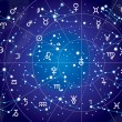 XII Constellations of Zodiac (Ultraviolet Blueprint version) — 图库矢量图片