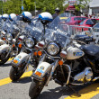 Stock Photo: Police Bikes in row