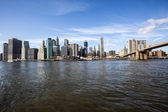 New York - Brooklyn Bridge and Lower Manhattan — Stock Photo