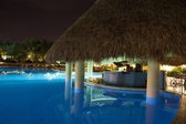 Luxurious Caribbean resort at night — Stock Photo