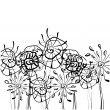 Stock Photo: Art sketching floral vector background